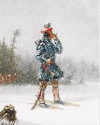 Indian Hunter on Snowshoes